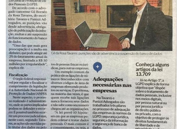 Matéria Jornal Diário de Canoas sobre LGPD